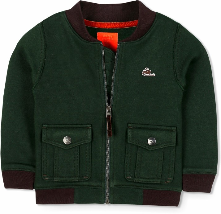 Cherry Crumble California Kids Boys Solid Cotton Regular Fit Winter Jacket Green