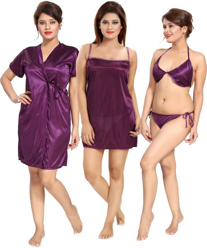 f2d71944a Glam World Women Nighty with Robe - Buy Glam World Women Nighty with ...