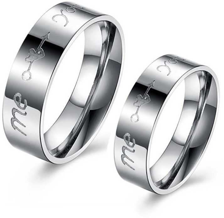 1064cbb582569 Yellow Chimes Me & You Stainless Steel Couple Rings For Boys & Girls Metal  Sterling Silver Plated Ring