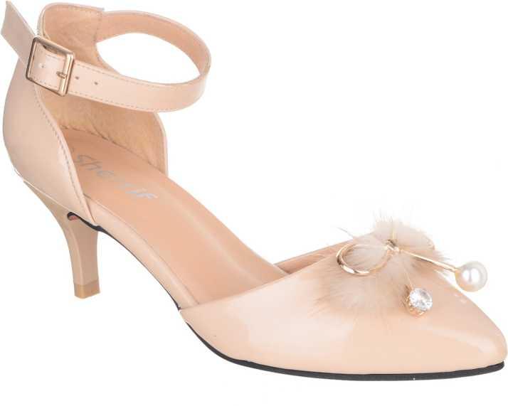 8ca6b77eb1b SHERRIF SHOES Women Beige Heels - Buy SHERRIF SHOES Women Beige Heels  Online at Best Price - Shop Online for Footwears in India