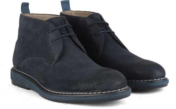 get new super cute discount Clarks Kenley Mid Navy Suede Boots For Men
