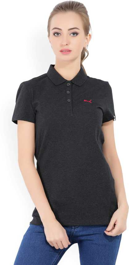 57169530 Puma Solid Women's Polo Neck Grey T-Shirt - Buy Grey Puma Solid Women's Polo  Neck Grey T-Shirt Online at Best Prices in India | Flipkart.com