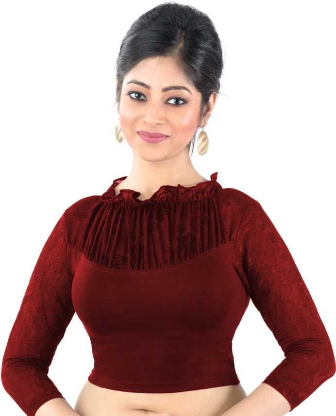 b0f5354e19a3e9 Abhi Fashion Neck Women s Stitched Blouse - Buy Maroon Abhi Fashion Neck  Women s Stitched Blouse Online at Best Prices in India
