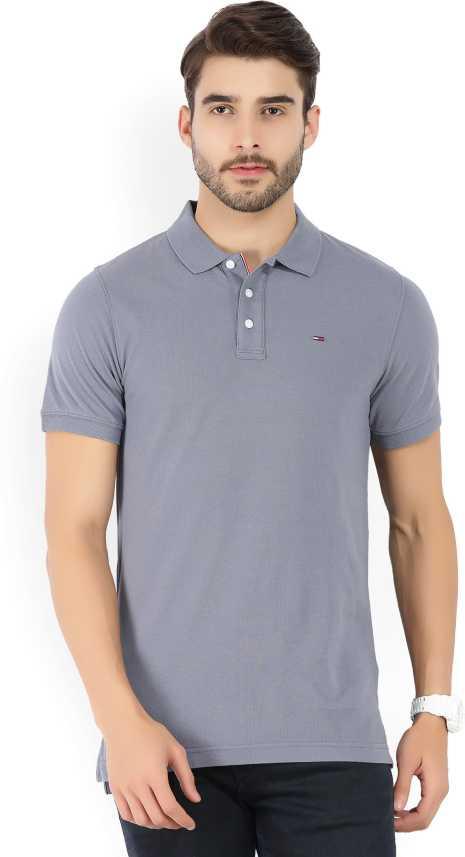 Tommy Hilfiger Solid Men Polo Neck Grey T Shirt Buy Blue