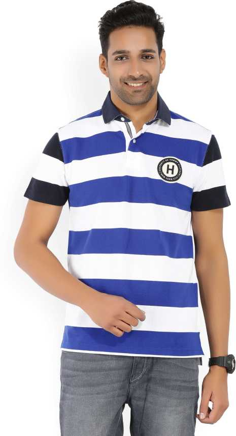 55039693e8fe Tommy Hilfiger Striped Men s Polo Neck Multicolor T-Shirt - Buy Multi Tommy  Hilfiger Striped Men s Polo Neck Multicolor T-Shirt Online at Best Prices  in ...