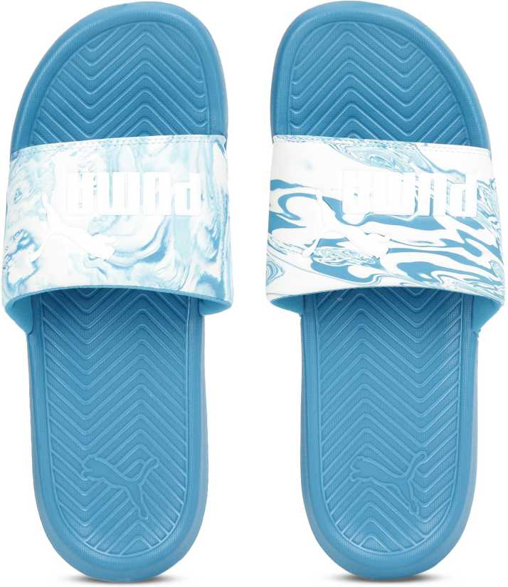 7aa7da5d89c4 Puma Popcat Marble Slides - Buy BLUE DANUBE-Puma White Color Puma Popcat  Marble Slides Online at Best Price - Shop Online for Footwears in India