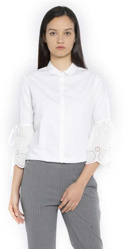 b0d9ef2e795 Van Heusen Women Solid Formal White Shirt - Buy Van Heusen Women Solid  Formal White Shirt Online at Best Prices in India