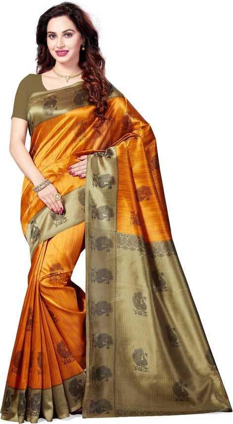 94a206b3e35 Buy Ishin Printed Bollywood Art Silk Mustard Sarees Online   Best ...