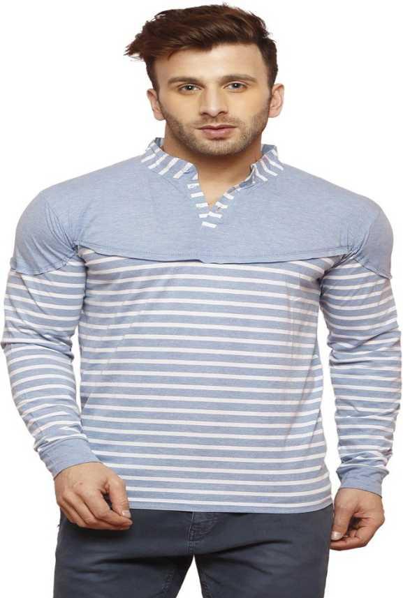 28885d85f Leana Striped Men's Mandarin Collar Light Blue T-Shirt - Buy Leana Striped  Men's Mandarin Collar Light Blue T-Shirt Online at Best Prices in India ...
