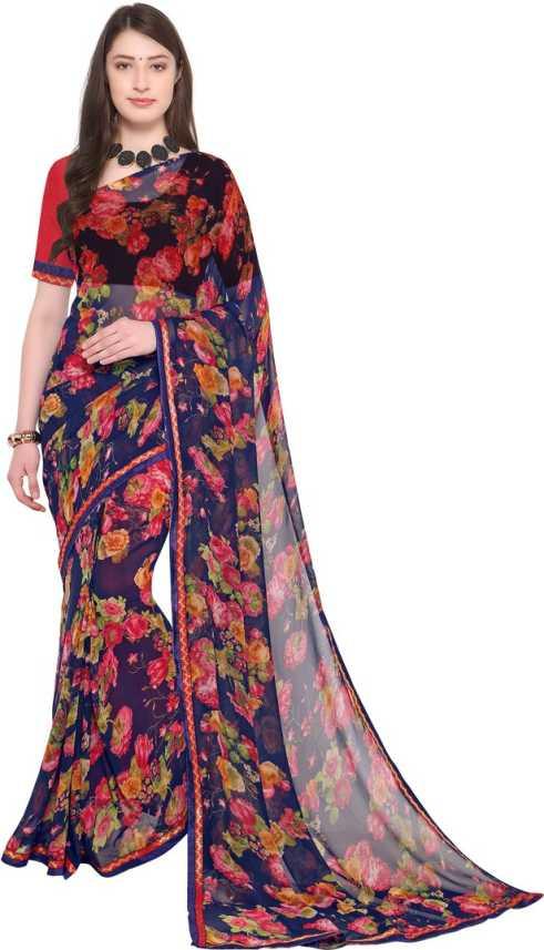 ad3db410fc Saara Floral Print Bollywood Dark Blue Pure Chiffon, Heavy Georgette Saree  (Dark Blue)