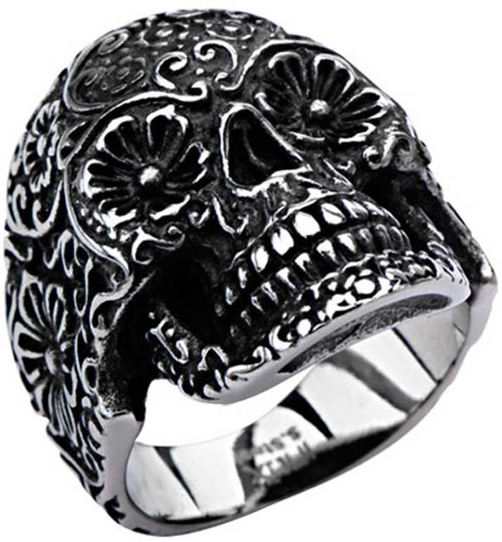 Inox Jewelry Hallowed Skull Floral Design Stainless Steel