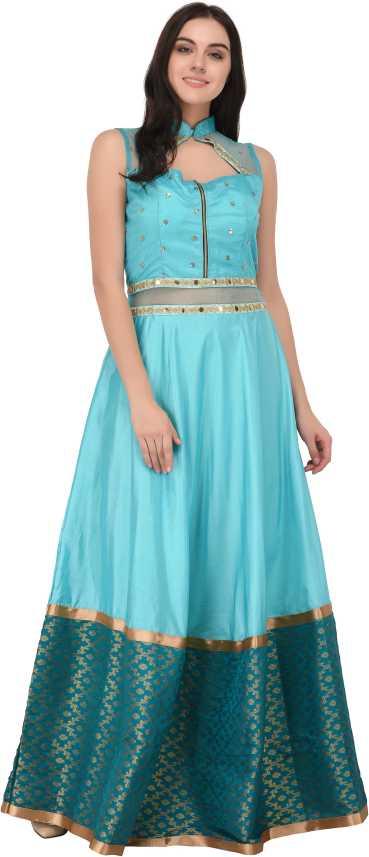 96ced077845d Svt Ada Collections Self Design Semi Stitched Lehenga Choli (Light Blue)