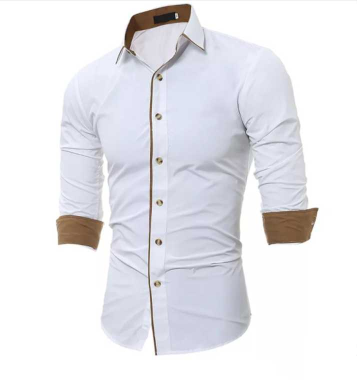 c26f30f0 N T FASHION Men's Solid Casual White Shirt