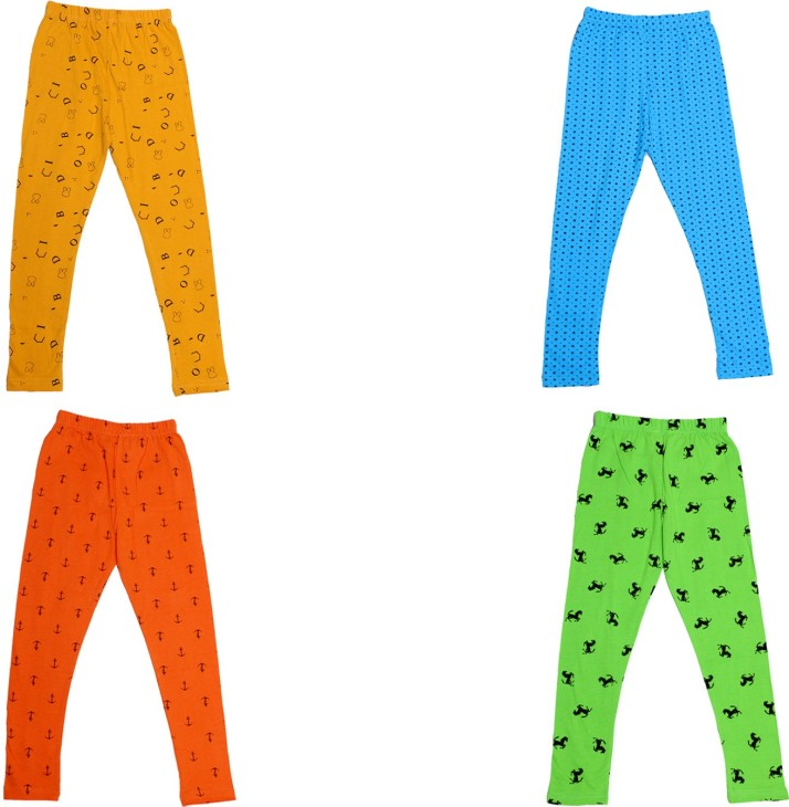 Pack Of 4 Indistar IndiWeaves Girls Super Soft and Stylish Cotton Printed Legging