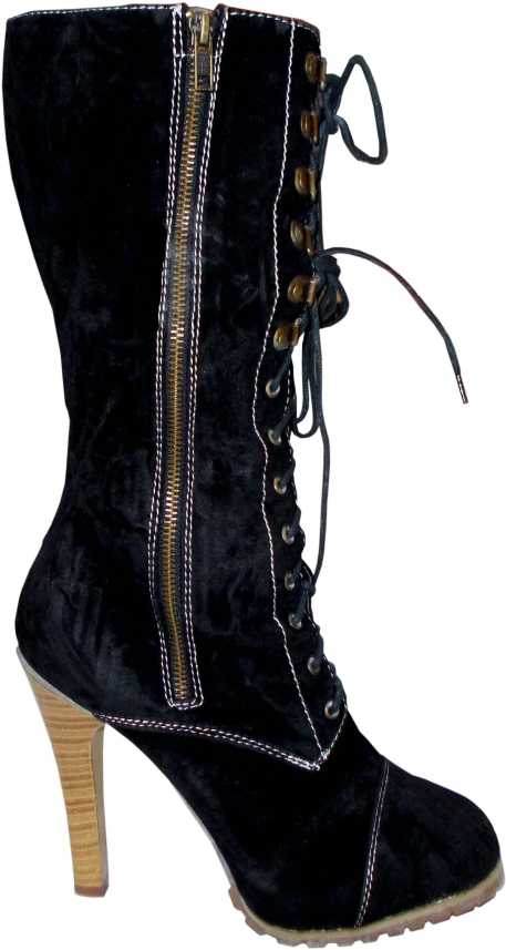 9666ae46a15d7 kotak sales Stylish Women Ladies Boots Calf Length Lace Up & Zip Block High  Heel Velvet Black Stretch Female Shoes High Thigh Long Girl Boots Size 37  Boots ...