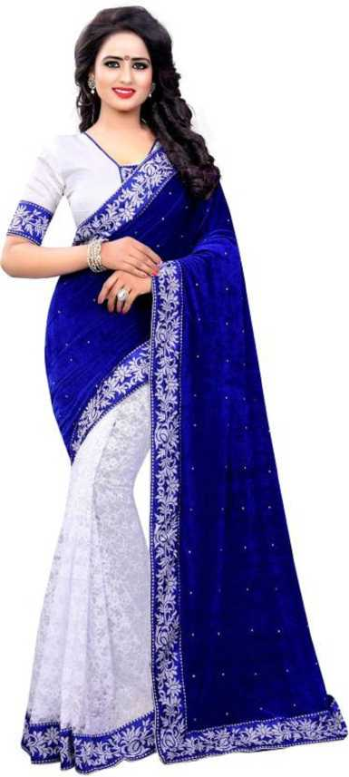 Modern Style Embroidered, Embellished Bollywood Cotton Blend, Velvet, Lace  Saree