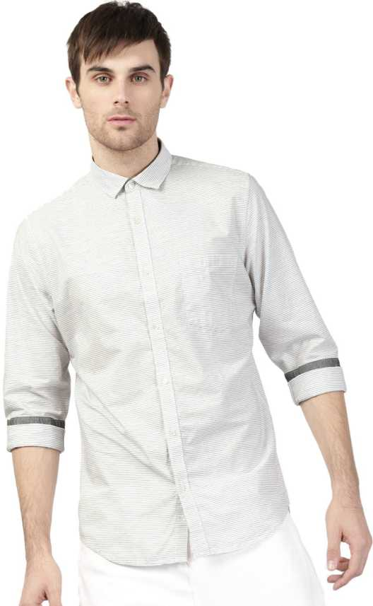 90cb36b7bf ether Men Striped Casual White, Grey Shirt - Buy ether Men Striped Casual  White, Grey Shirt Online at Best Prices in India | Flipkart.com