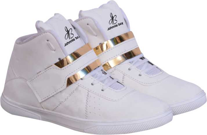 72c12d303a8b Johnnie Boy White Gold Dancing high ankle sneakers Dancing Shoes For ...
