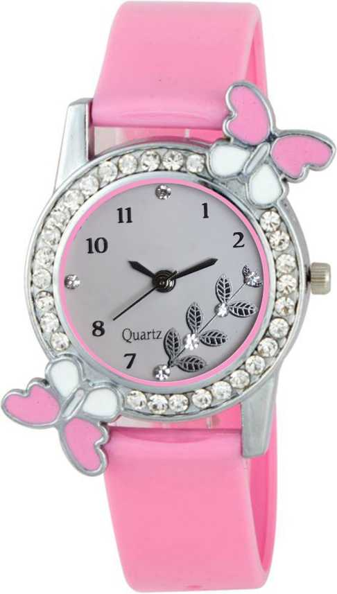 Keepkart Pink Stylish Butterfly Dial Studed Diamond Dial Pu Strap Unique Designer Watch For Women And Girls Analog Watch For Women Buy Keepkart Pink Stylish Butterfly Dial Studed Diamond Dial