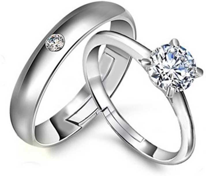 cf7d38d558f MYKI Mr & Mrs Love Forever Designer Edition Adjustable Engagement Couple  Rings Sterling Silver Swarovski Zirconia 24K White Gold Plated Ring