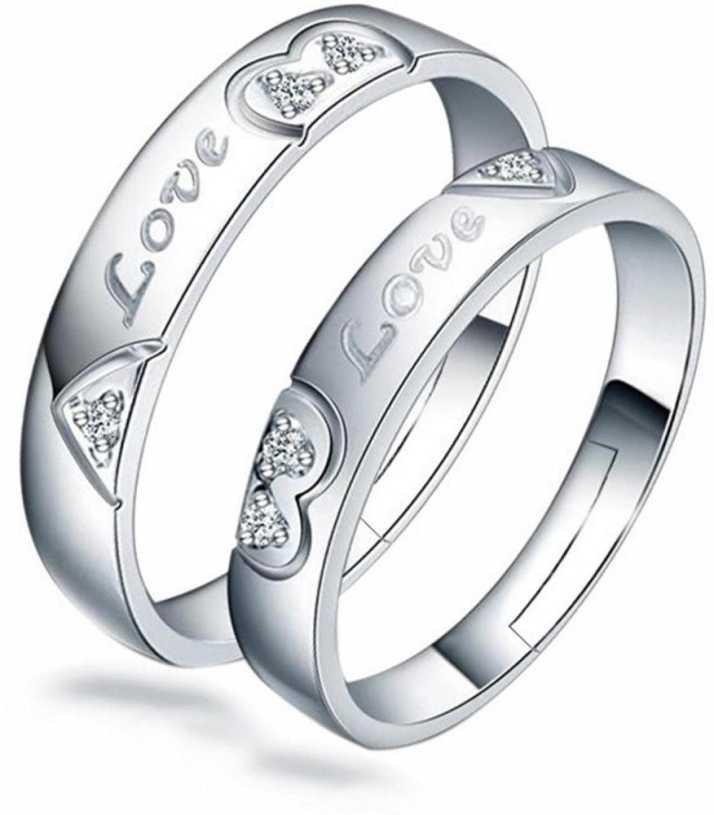 MYKI Mr & Mrs Love Forever Designer Edition Adjustable Engagement Couple Rings Sterling Silver Swarovski Zirconia 24K White Gold Plated Ring Price in India ...