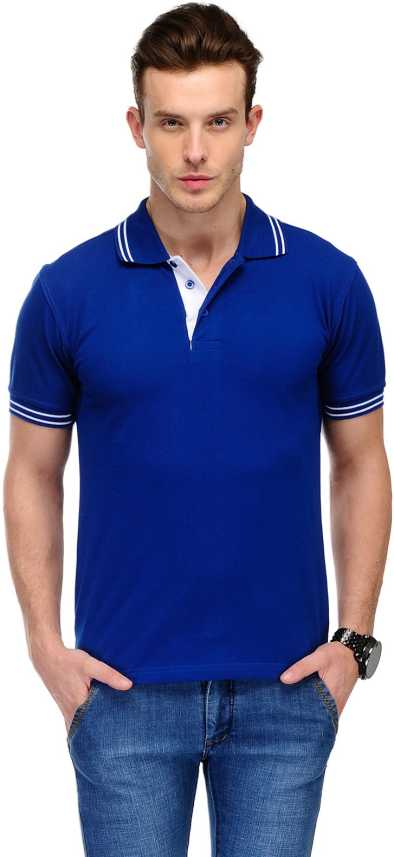ab1619d1b AWG Solid Men Polo Neck Blue T-Shirt - Buy AWG Solid Men Polo Neck Blue T- Shirt Online at Best Prices in India