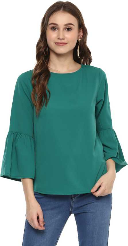 8e6c00f9b64f8f Harpa Casual Bell Sleeve Solid Women's Dark Green Top - Buy Harpa Casual  Bell Sleeve Solid Women's Dark Green Top Online at Best Prices in India |  Flipkart. ...