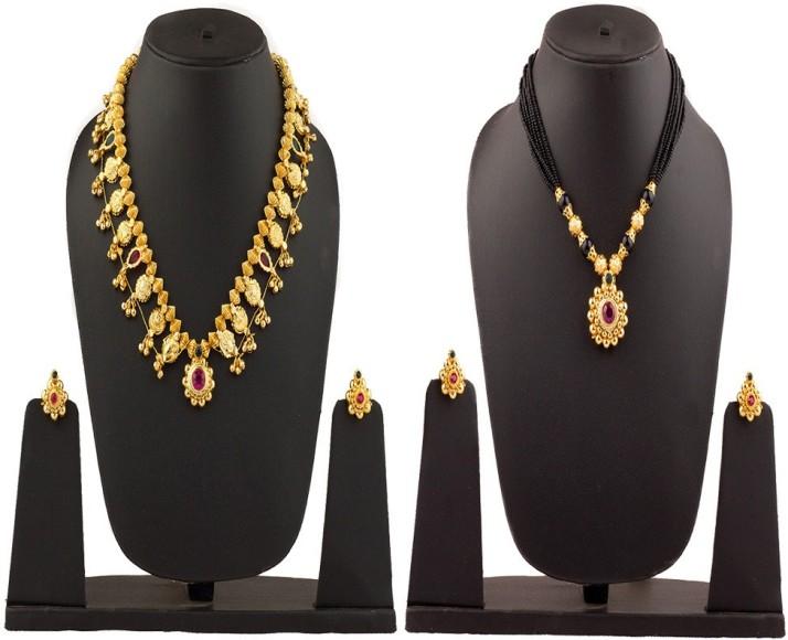 Womens Trendz Tarbhoj Mani Big Saaj Ghat Manchali 24K Gold Plated Alloy Mangalsutra