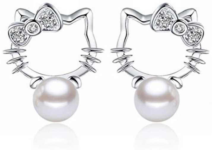 e56602f8d Flipkart.com - Buy MYKI Hello Kitty Cute Cat Pearl Earring for women &  girls Swarovski Zirconia Sterling Silver Drop Earring Online at Best Prices  in India