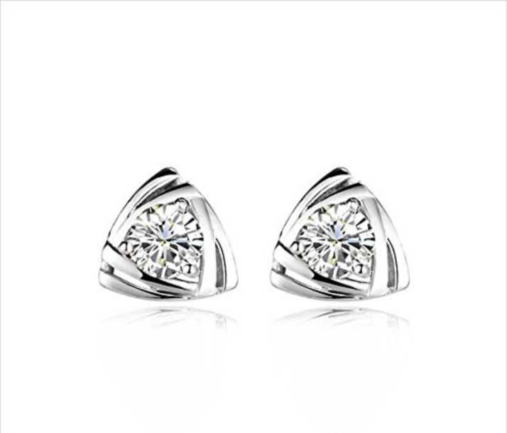 97eae5bccc0e4 MYKI Triangle Stud Earrings Top Grade CZ Diamond White Gold Plated Summer  Style Earring Swarovski Zirconia Sterling Silver Stud Earring