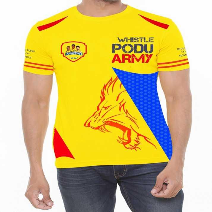 90249a2f2b8 Dhoni Superhero Men s Round Neck Yellow T-Shirt - Buy Dhoni ...