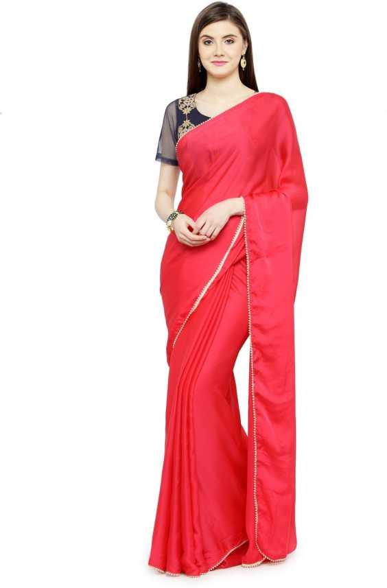 861c168911 Buy Shaily Retails Solid Fashion Satin Pink Sarees Online @ Best ...
