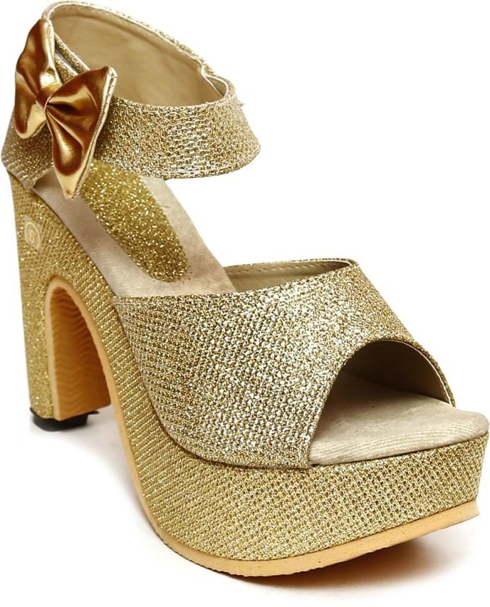 Tiger Harsh Women Gold Heels - Buy