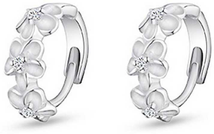 8236f0615 Flipkart.com - Buy Silver Shoppee 'Blossoming Hope' Sterling Silver Earrings  for Kids, Girls and Women Sterling Silver Huggie Earring Online at Best  Prices ...