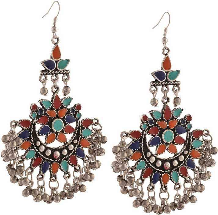 402b0cc52 Flipkart.com - Buy Crunchy Fashion Tribal Collection Oxidised Silver  Afghani Earrings for Women & Girls Alloy Dangle Earring Online at Best  Prices in India