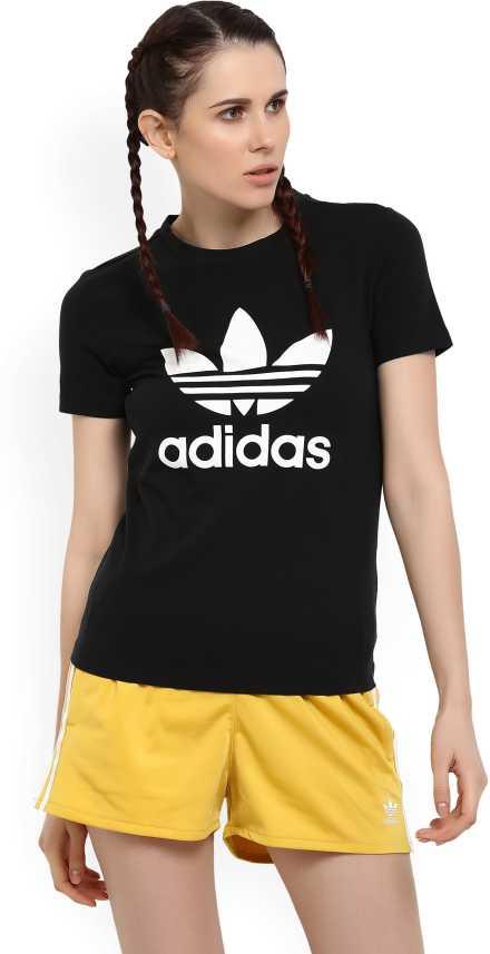 aafae565 ADIDAS ORIGINALS Printed Women Round Neck Black T-Shirt - Buy Black ADIDAS  ORIGINALS Printed Women Round Neck Black T-Shirt Online at Best Prices in  India ...