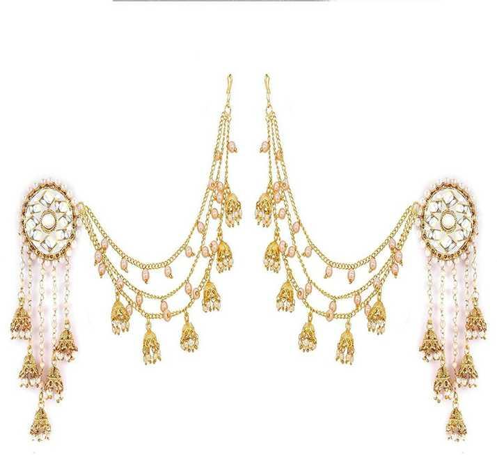 Zeneme Jewellery Traditional Stylish Gold Plated Polki Pearl Bahubali Jhumki Jhumka Earrings For S And Cubic Zirconia Alloy Earring