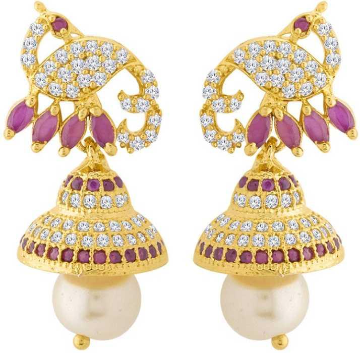 47cdee100 Voylla Swarnam CZ Studded Peacock Earrings Cubic Zirconia Brass Jhumki  Earring. Special price