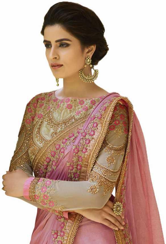 b2aac3c705 Buy Nirjas designer Embroidered Bollywood Satin Pink, Gold Sarees Online @ Best  Price In India | Flipkart.com