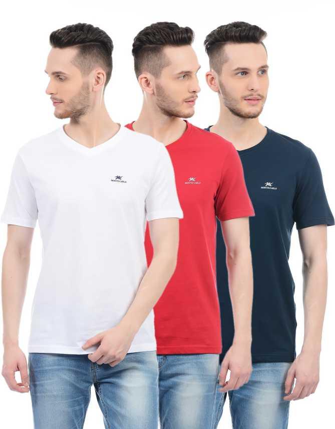 49d5e015c96 Monte Carlo Solid Men V-Neck Multicolor T-Shirt - Buy Monte Carlo ...