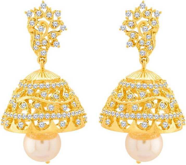 21dd1df6d Flipkart.com - Buy Voylla Swarnam Sparkling Pair of Jhumka Earrings Pearl Brass  Jhumki Earring Online at Best Prices in India