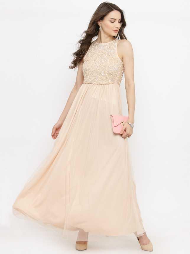 bd83b2d174 Pluss Women Maxi Beige Dress - Buy Pluss Women Maxi Beige Dress Online at Best  Prices in India