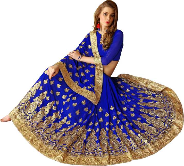 6262262f9a Rudra Fashion Embroidered Fashion Poly Georgette Saree (Blue, Gold)