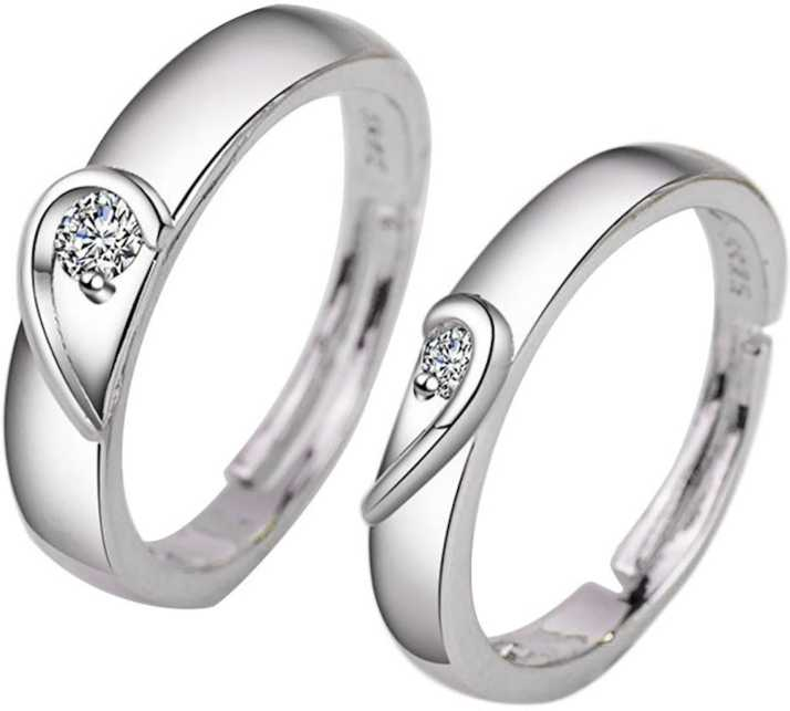 ec2e211828 osw jewel 925 Sterling Silver Platinum Plated Ring Heart-shaped Couple  Rings Diamond Ring Fashion Wedding Rings Alloy Ring Price in India - Buy  osw jewel ...