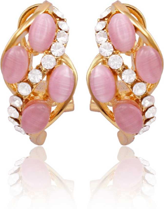41148ad4a Flipkart.com - Buy Nakabh Fashion Jewellery Cute Pink Monalisa Stone Leaf  shaped Golden Plated Brass Wedding Brass, Alloy Stud Earring, Clip-on  Earring ...