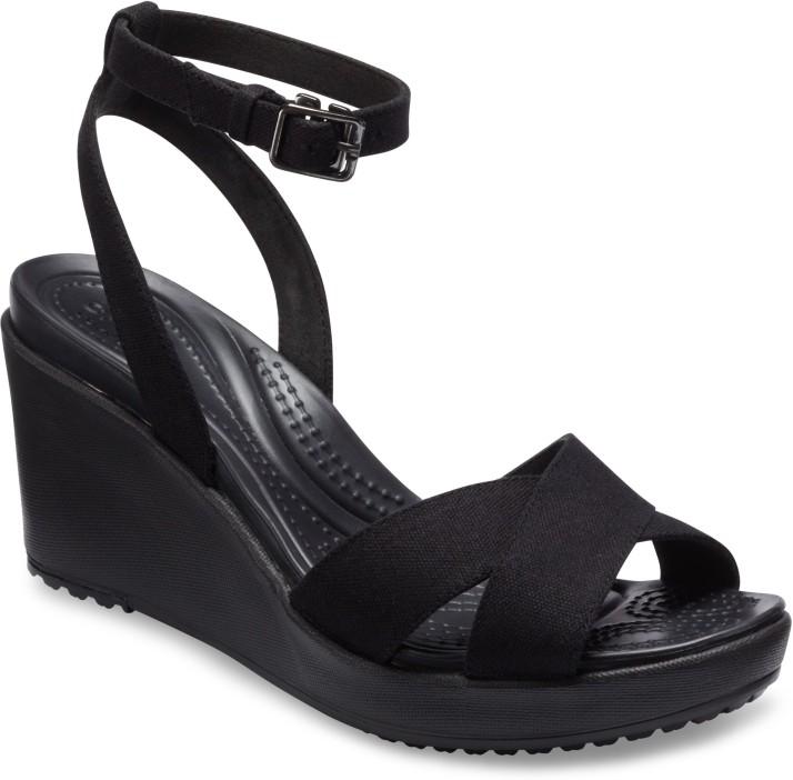 Crocs Women Black Wedges - Buy Black