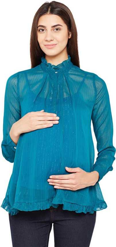 04e1c0ef8e3 Oxolloxo Casual Full Sleeve Striped Women Blue Top - Buy Oxolloxo ...