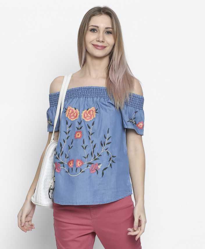 4b19d515531ae8 DJ &C by FBB Casual Half Sleeve Embroidered Women Blue Top - Buy DJ &C by  FBB Casual Half Sleeve Embroidered Women Blue Top Online at Best Prices in  India ...