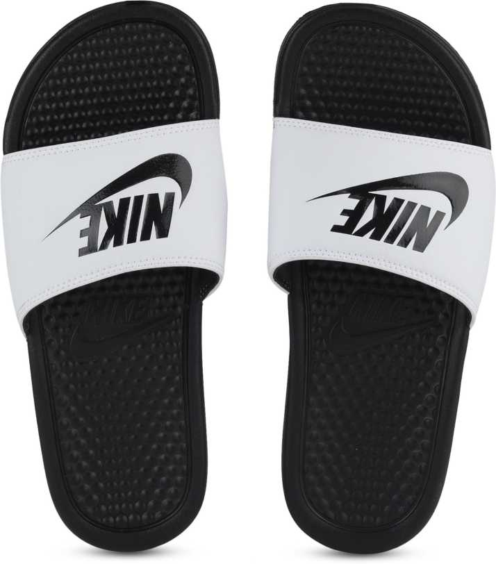 reputable site 6aea3 98a46 Nike BENASSI JDI SS 19 Slides - Buy WHITE BLACK-BLACK Color Nike BENASSI JDI  SS 19 Slides Online at Best Price - Shop Online for Footwears in India ...