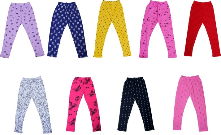 Pack of 3 Indistar Girls Super Soft and Stylish Cotton Printed Churidar Legging Pants